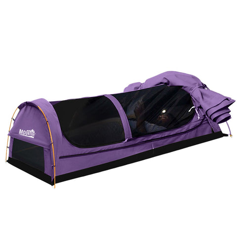 Mountview Double Swag Camping Swags Canvas Dome Tent Hiking Mattress Purple