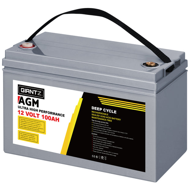 100Ah Deep Cycle Battery 12V AGM Marine Sealed Power Portable Box Solar Caravan Camping