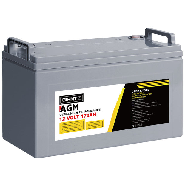 Giantz 170Ah Deep Cycle Battery 12V AGM Marine Sealed Power Portable Box Solar Caravan Camping
