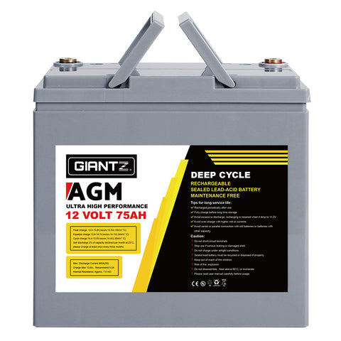 Giantz 75Ah Deep Cycle Battery 12V AGM Marine Sealed Power Portable Box Solar Caravan Camping