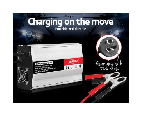 12V Battery Charger 20 Amp Car ATV 4WD Boat Caravan Motorcycle
