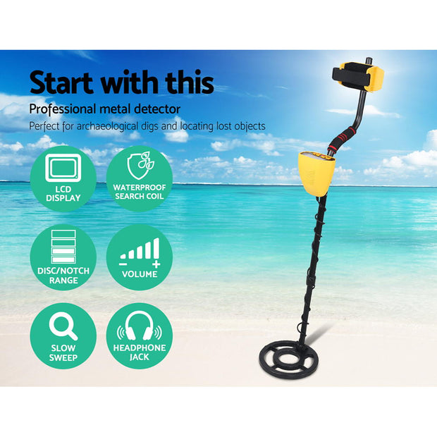 LCD Screen Metal Detector with Headphones - Yellow