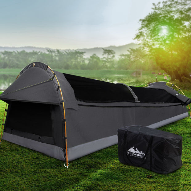 Double Swag Camping Swags Canvas Tent Deluxe Dark Grey Large Bag
