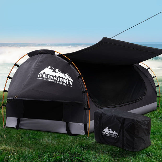 Swag King Single Camping Swags Canvas Free Standing Dome Tent Dark Grey with 7CM Mattress