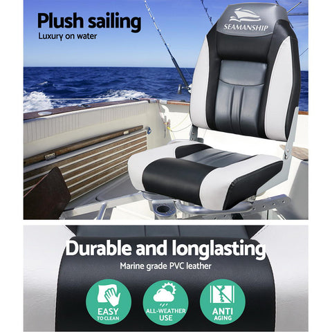 Set of 2 Folding Swivel Boat Seats - Grey & Black