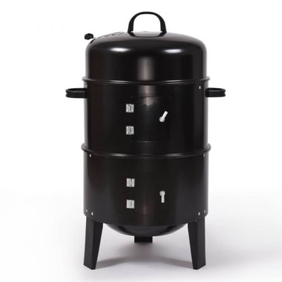 3 IN 1 CHARCOAL VERTICAL SMOKER BBQ GRILL ROASTER PORTABLE OUTDOOR STEEL STEAMER