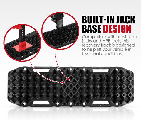 Pair 10T Recovery Tracks Sand Track Sand Snow Mud Trax 4WD Black