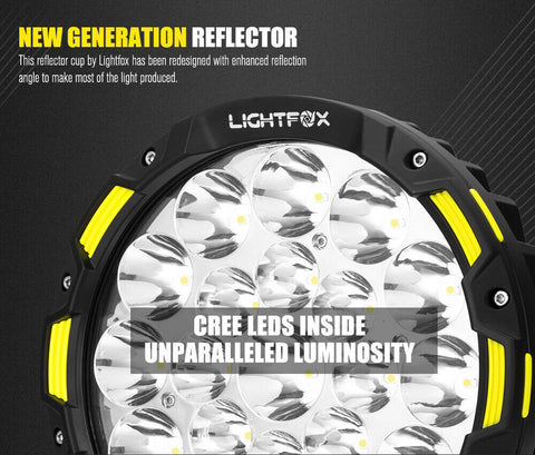LightFox 9inch LED Driving Lights Round Spot Lights Offroad