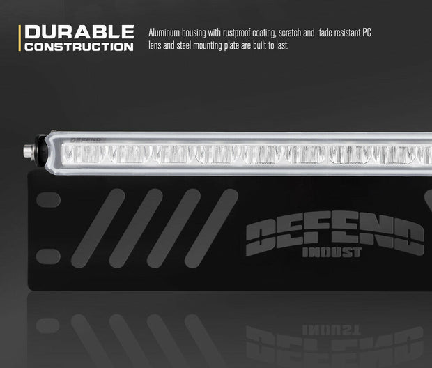 DEFEND INDUST 14inch Number Plate LED Light Bar Single Row Driving Lamp Offroad