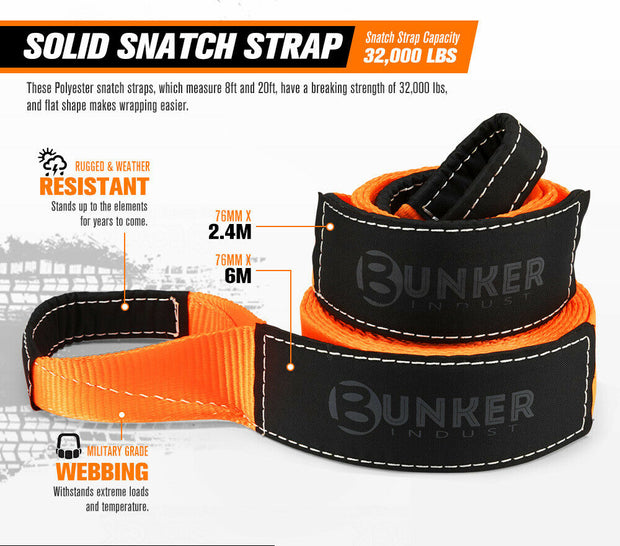 BUNKER INDUST 4WD Complete Recovery Kit Off Road Snatch Strap Dampener 4x4 10PCS