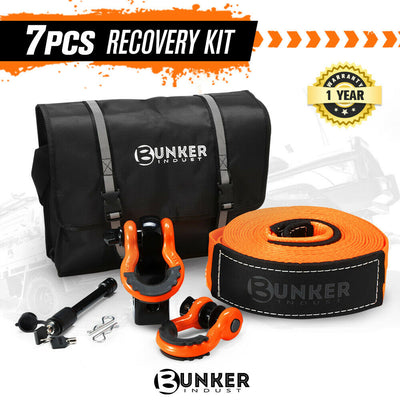 BUNKER INDUST 4WD Recovery Kit Off Road Snatch Strap Hitch Receiver Bow Shackles