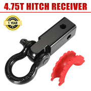 Recovery Hitch Receiver Rated 4.75 Tonne + Bow Shackle Tow Bar Off Road 4x4 4WD
