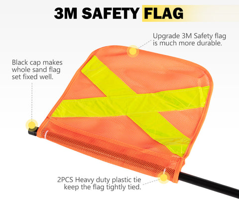 3M Recovery Sand Flag Safety Flag Simpson Desert Quick Connector Base