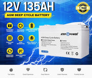 135Ah Deep Cycle Battery 12V AGM Marine Sealed Power Portable Box Solar Caravan Camping