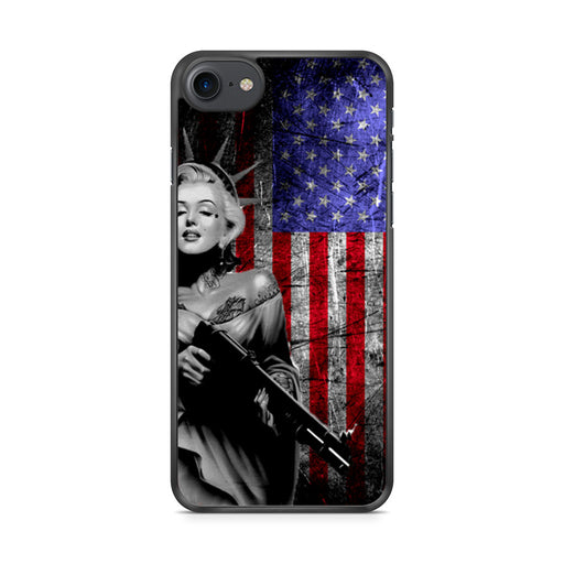 Marilyn Monroe Liberty Gun American Flag iPhone 7 case