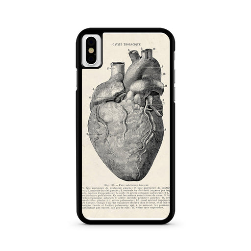 Vintage Medical Anatomical Heart Diagram iPhone X case