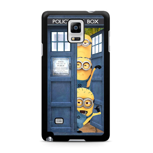 Three Despicable Me Minion In Dr Who Tardis Call Box Samsung Galaxy Note 4 case