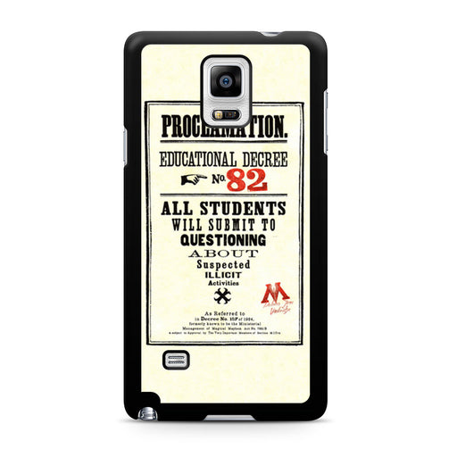 Harry Potter Proclamation Educational Decree No. 82 Samsung Galaxy Note 4 case