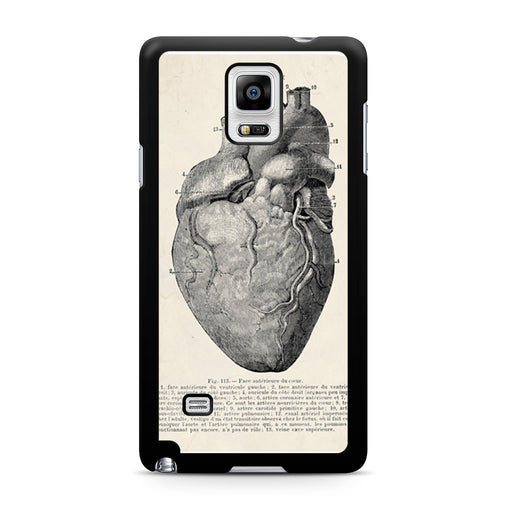 Vintage Medical Anatomical Heart Diagram Samsung Galaxy Note 4 case
