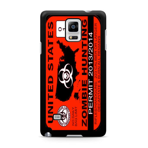 Zombie Hunting Permit Samsung Galaxy Note 4 case