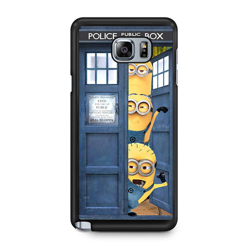 Three Despicable Me Minion In Dr Who Tardis Call Box Samsung Galaxy Note 5 case