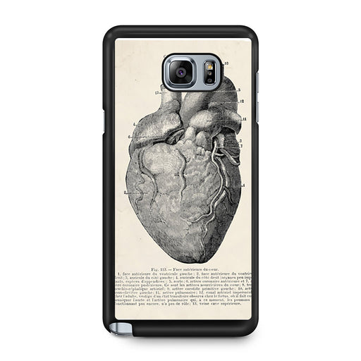 Vintage Medical Anatomical Heart Diagram Samsung Galaxy Note 5 case