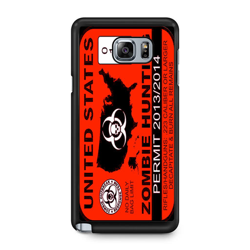 Zombie Hunting Permit Samsung Galaxy Note 5 case