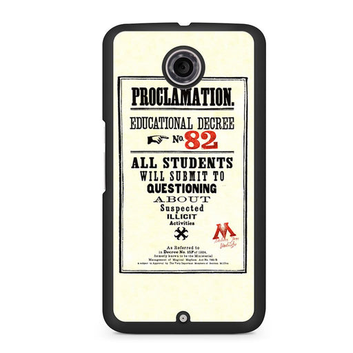 Harry Potter Proclamation Educational Decree No. 82 Google Nexus 6 case