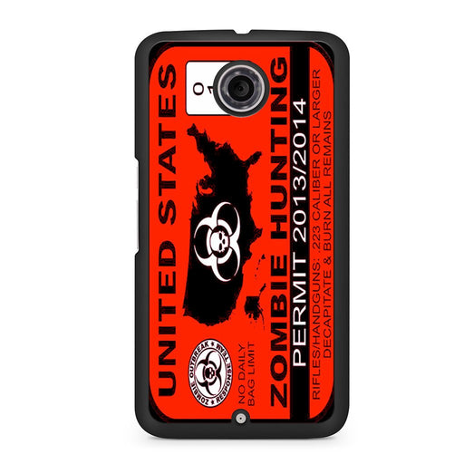 Zombie Hunting Permit Google Nexus 6 case