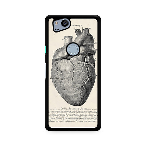 Vintage Medical Anatomical Heart Diagram Google Pixel 2/Pixel 2 XL case