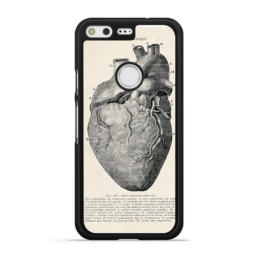 Vintage Medical Anatomical Heart Diagram Google Pixel case