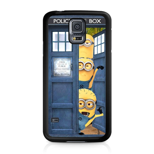 Three Despicable Me Minion In Dr Who Tardis Call Box Samsung Galaxy S5 case