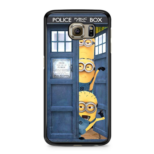 Three Despicable Me Minion In Dr Who Tardis Call Box Samsung Galaxy S6 case