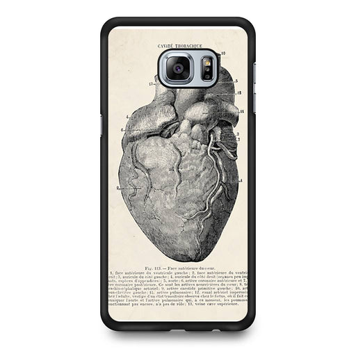 Vintage Medical Anatomical Heart Diagram Samsung Galaxy S6 Edge+ case