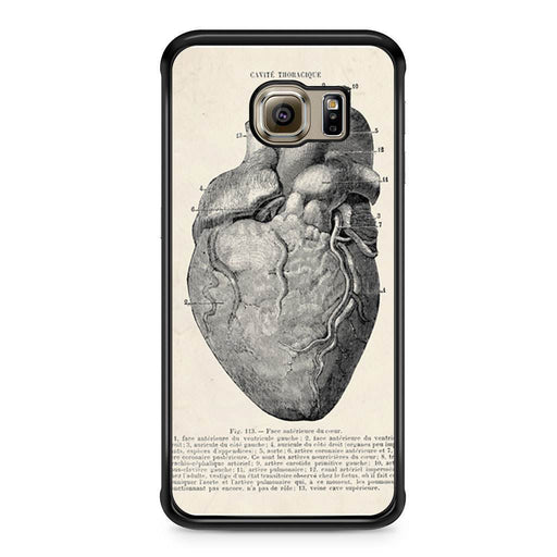 Vintage Medical Anatomical Heart Diagram Samsung Galaxy S6 Edge case