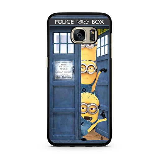 Three Despicable Me Minion In Dr Who Tardis Call Box Samsung Galaxy S7 case