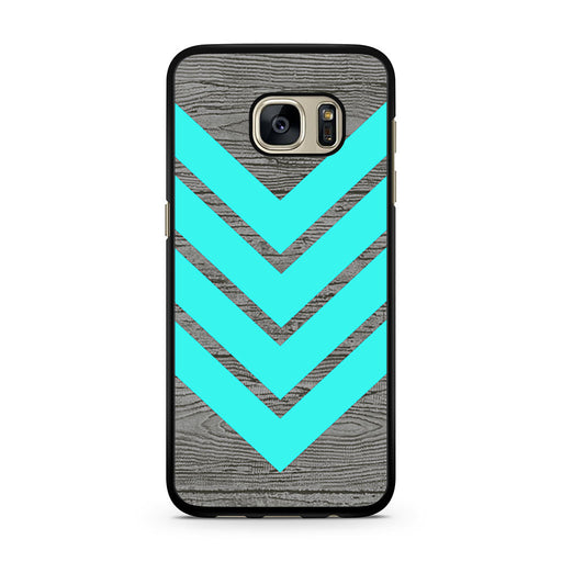 Tiffany Blue Chevron Wood Samsung Galaxy S7 case