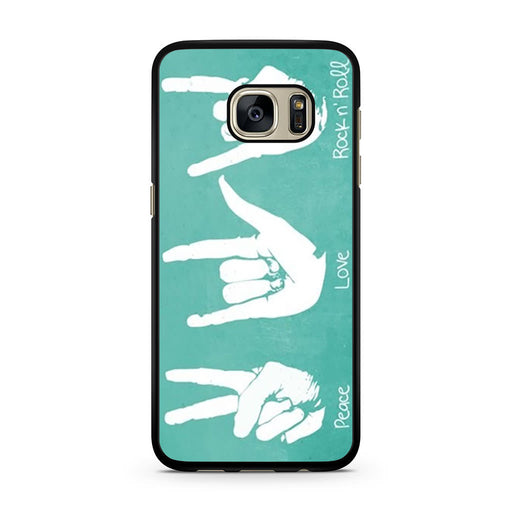 Peace Love Rock n' Roll Hand Sign Samsung Galaxy S7 case