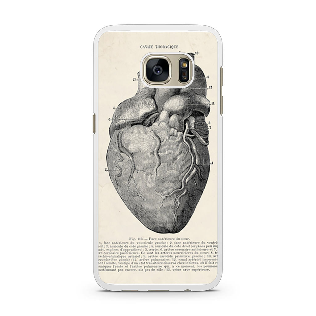 Vintage Medical Anatomical Heart Diagram Samsung Galaxy S7 case