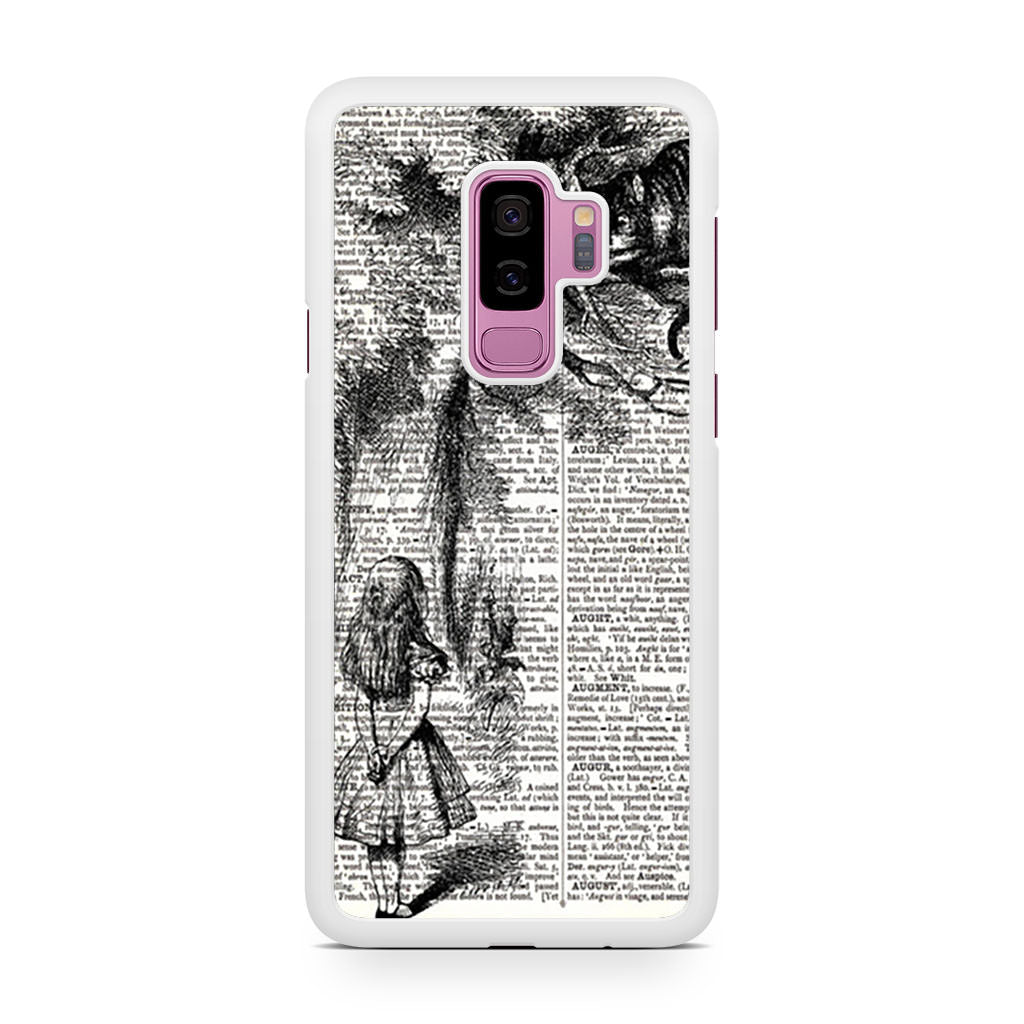 Alice with the Cheshire Cat Art Print on Dictionary Samsung Galaxy S9/S9+ case