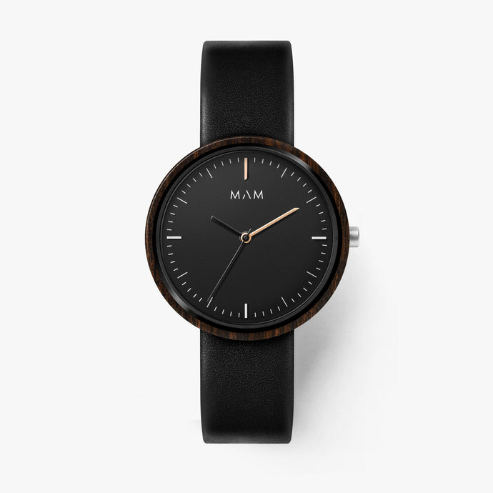 Black watches for men wood Mam Originals | PLANO  642
