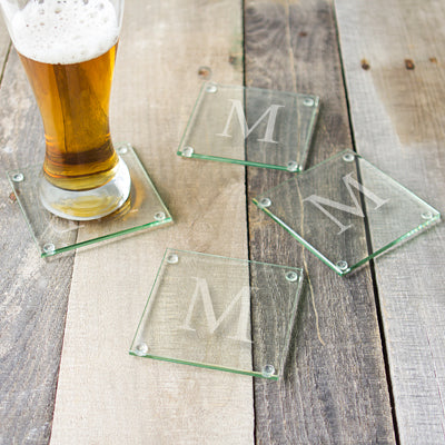 Monogrammed Glass Coasters