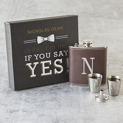 Single Initial Leather Wrapped Flask Set