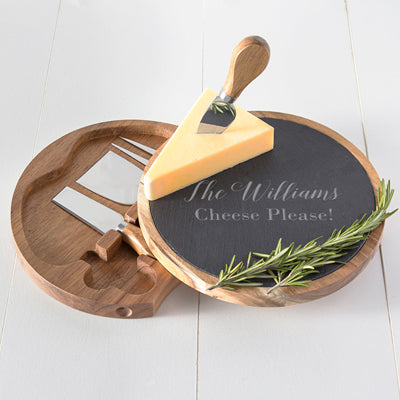 Slate & Acacia Cheese Board with Utensils