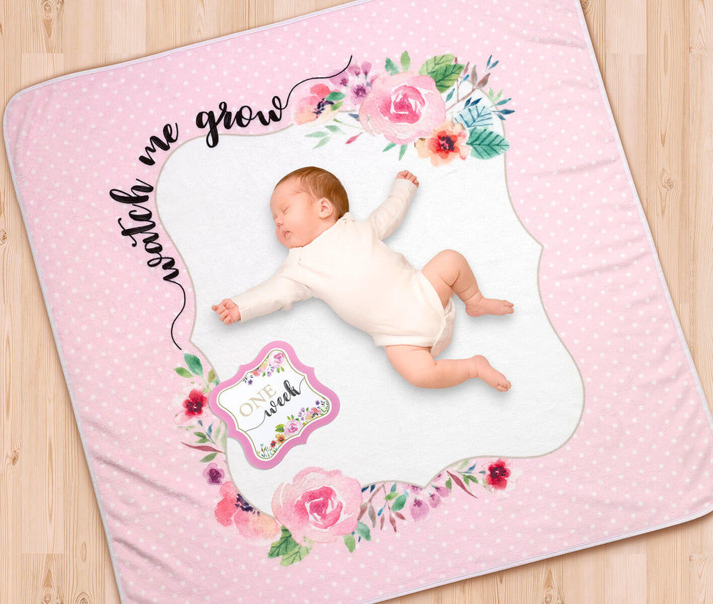 Watch Me Grow Pink Milestone Baby Blanket