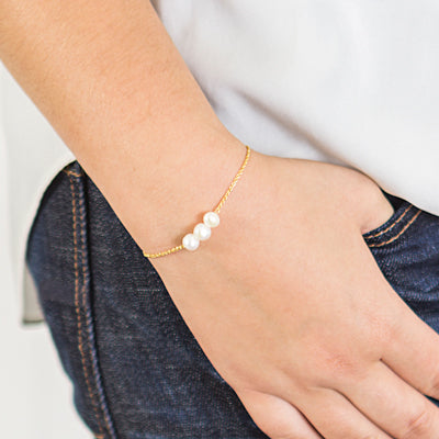 Three Pearl Bracelet (Silver or Gold)