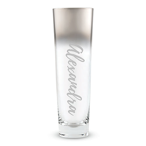 Custom Stemless Flute with Silver Ombre Fade
