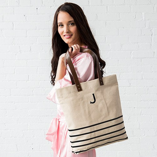 Annie Striped Personalized Tote Bag