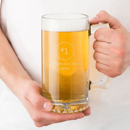 #1 Dad 25 oz. Personalized Beer Mug