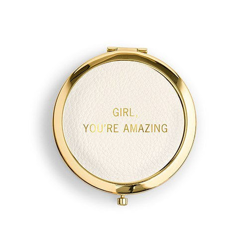 You're Amazing Personalized Faux Leather Compact Mirror